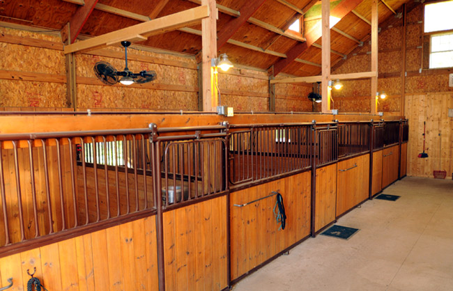 Inside Horse Barn log barn stables - horse boarding